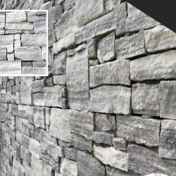 Parement forte épaisseur pierre Quartzite gris 20x55 (CLOUDY-GREY)