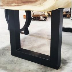 Paire de pieds en métal noir forme U