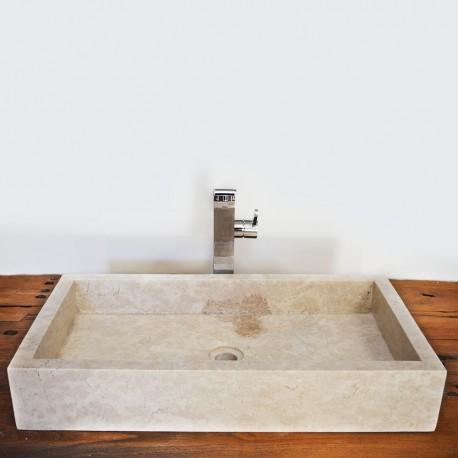 Vasque marbre rectangulaire 70 cm sans trou robinet (VASQ70ST)