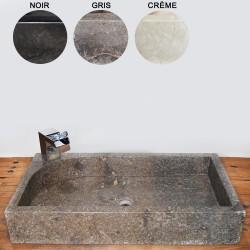 Vasque marbre rectangulaire 70 cm avec trou robinet (VASQ70AT)