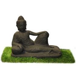Statuette bouddha allongé ciment noir (STA-CIM001-NOIR)