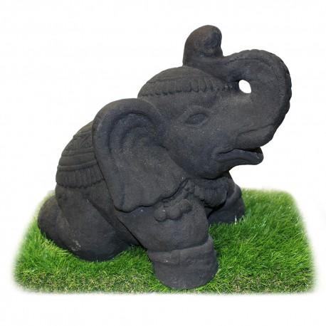 Statuette Elephant sacré assis ciment noir (STA-CIM004-NOIR)
