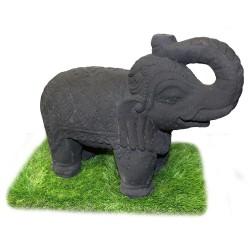 Statuette Elephant sacré debout ciment noir (STA-CIM005-NOIR)