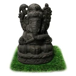 Statuette Dieu Ganesh ciment noir (STA-CIM006-NOIR)