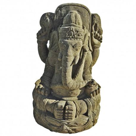 Statue Ganesh en pierre naturelle verte (STA-PIER002)
