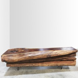 Table basse tronc bois noble 160cm (PAL1160)