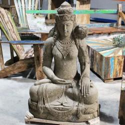 Statue Déesse DEWI Sri pierre naturelle verte 120cm (STA-PIER003)