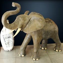 Statue Eléphant naturelle H130 fibrociment (STA-CIM008)