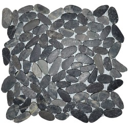 Mosaïque 30x30 pebble slice black sumate (MOS018)