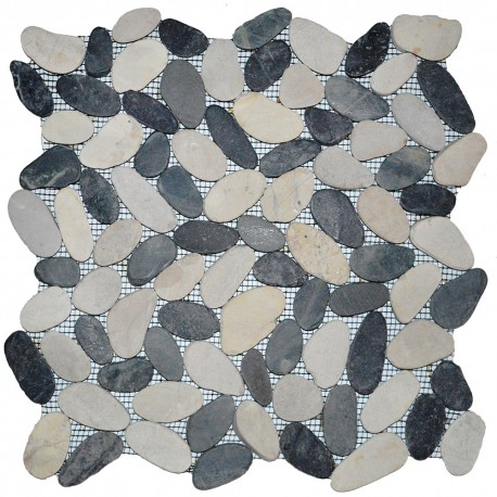 Mosaïque 30x30 pebble slice mix white / black (MOS020)
