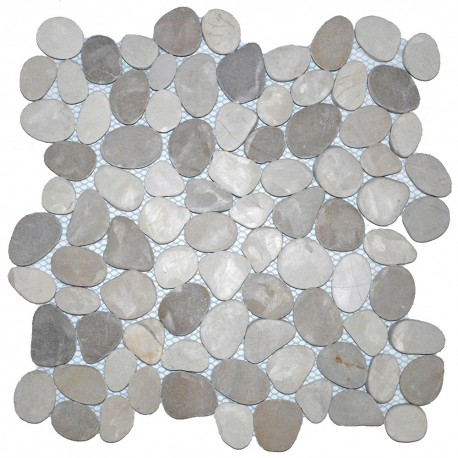 Mosaïque 30x30 pebble slice mix white tan (MOS021)
