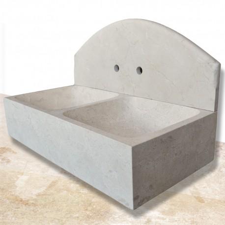 Evier marbre double bac 90 cm (EVI002)