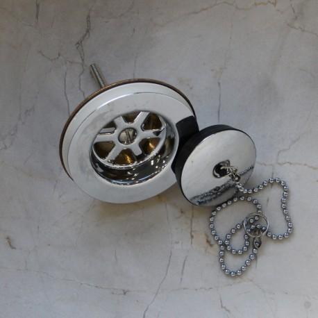 Bonde laiton pour évier avec bouchon chainette chromé (BONDE02)