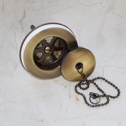 Bonde laiton pour évier avec bouchon chainette vieux bronze (BONDE03)
